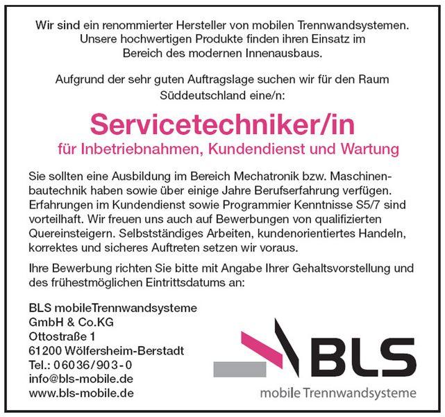 servicetechniker im auendienst fr sddeutschland - Bewerbung Auendienst
